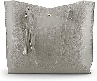 Women Large Tote Bag - Tassels Faux Leather Shoulder Handbags, Fashion Ladies Purses Satchel Messenger Bags