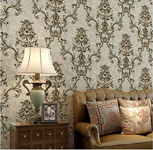 3D Wallpaper Non-Woven Embossed Damascus Wallpaper Beige Gray Wallpaper Applicable to Living Room, TV Background Wall Home Decor 9.5x0.53m