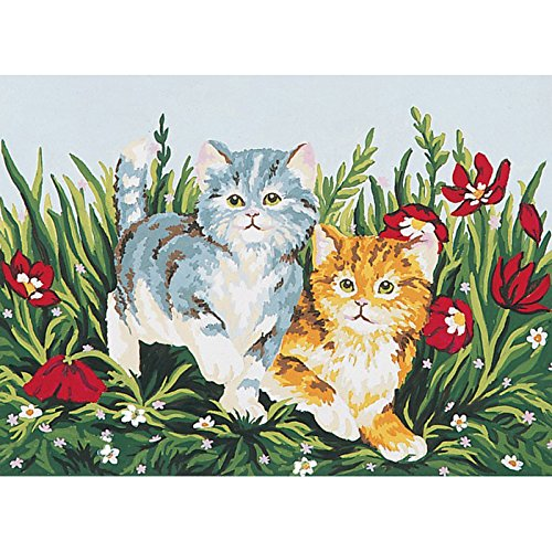 Collection D'Art 6032 Chatons Joueurs Canevas Imprimé à Broder Coton Multicolore 30 x 40 x 0,1 cm