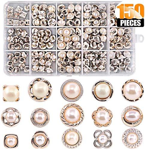 150 Botones de Perlas de Imitación de 15 Estilos, Botón de Costura de Perlas Vintage de 8-10 mm Para Manualidades, Ropa, Trajes Y abrigos, Vestidos de Novia y Proyectos de Bricolaje.