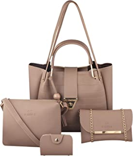 GM Creations™ PU Leather Latest Trendy Fashionable Ladies Top Handle Handbag With Sling Bag Shoulder Bag & Clutch Combo 4p...