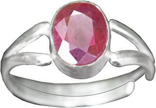Arenaworld 5.50 Ratti Natural Ruby (Manik or Manikya) Silver Plated Adjustable Ring for Man and Woman with Lab Certificate