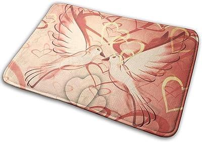 Non-Slip Doormats Bird Love Entrance Rug Indoor/Outdoor Carpet Absorbs Moisture Washable Dirt Trapper Mats
