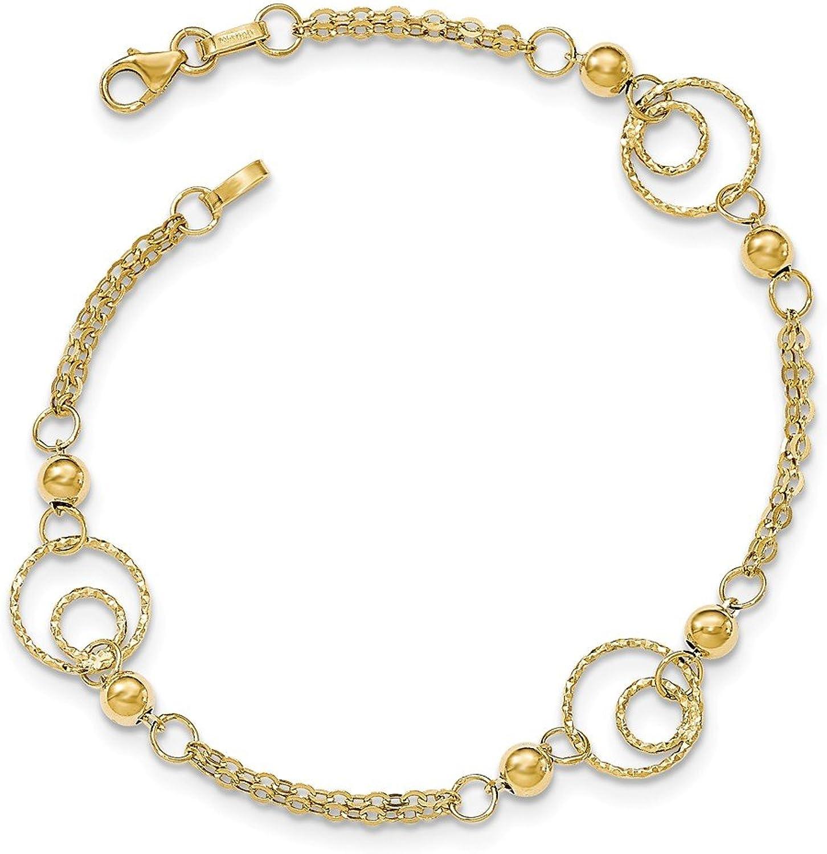Beautiful Yellow gold 14K Yellowgold 14KY Textured Circles Polished Beads Bracelet