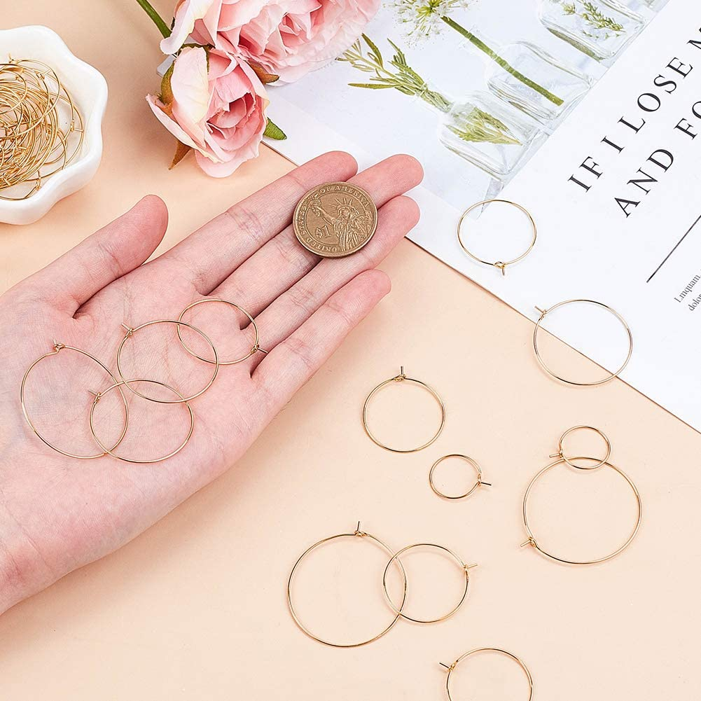 UNICRAFTALE 120pcs 6 Sizes Wine Glass Charms Rings 304 Stainless Steel Hoop Earring Findings Golden /& Stainless Steel Color DIY Earring Beading for Women Basketball Wives Pin 0.7mm
