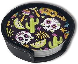 BJAMAJ - Posavasos Redondos de Piel sintética con diseño de Calavera Mexicana y Guitarra, Apto para el hogar y la Cocina (6 Unidades)
