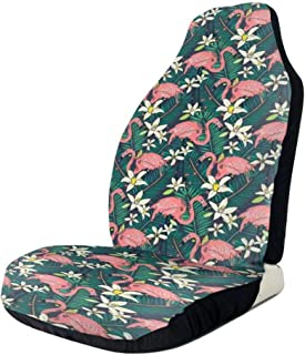 GULTMEE Car Front Seat Covers Vehicle Protector Mat Covers,Hawaiian Exotic Nature and Wildlife Theme with Birds Flowers and Leaves Rainforest,Fit Most Cars,Sedan,Truck,SUV
