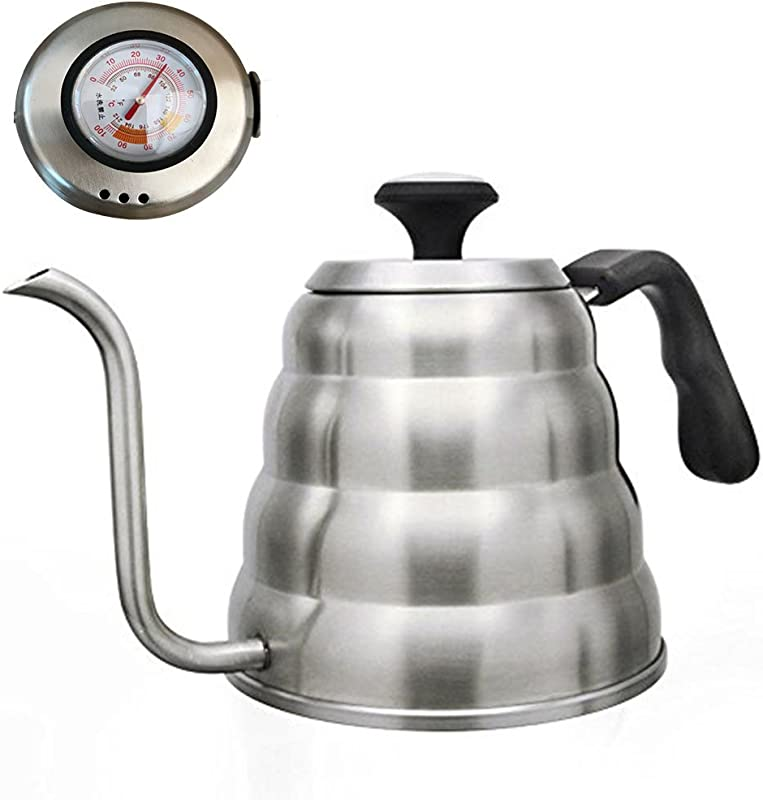 OCEANLANDY Pour Over Coffee Kettle With BUILT IN THERMOMETER Large 1 0L 1 2L Gooseneck Drip Coffee Kettle And Stainless Steel Stovetop Tea Pot 1 2 Liter Thermometer