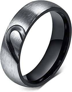 Free Engraving Stainless Steel Love Puzzle Couple Ring for Valentines Wedding Engagement Promise