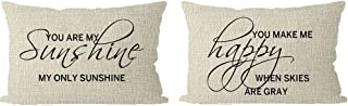 ITFRO Set of 2 Farmhouse You are My Sunshine You Make Me Happy When Skies are Gray Cream Beige Lumbar Burlap Throw Pillow Case Cushion Cover Sofa Decorative Rectangle 12x20 inch