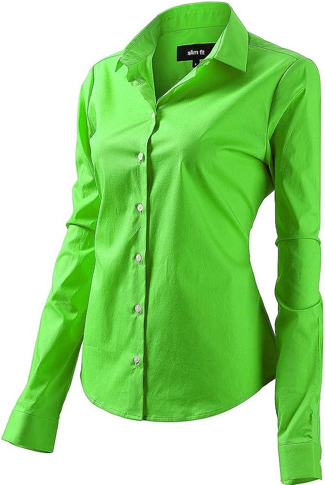 Fly hawk camicia da donna a maniche lunghe 97% cotone 3% poliestere camicetta casual verde1