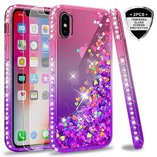 LeYi iPhone X Case, iPhone Xs Case with Tempered Glass Screen Protector [2 Pack] for Girls Women, Glitter Liquid Cute Clear TPU Phone Case for Apple iPhone X/iPhone Xs/iPhone 10 ZX Pink/Purple