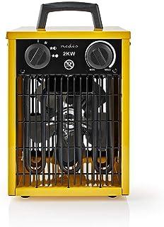 NEDIS - Calefactor de Aire de Diseño Industrial - Termostato - 3 Configuraciones - 2000 W - Asa de Transporte - Amarillo
