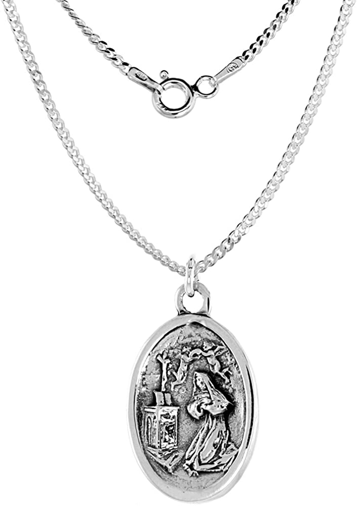 Sterling Silver Ranking TOP1 Mary Magdalene Medal Oval 1.8mm Necklace Super-cheap Chain