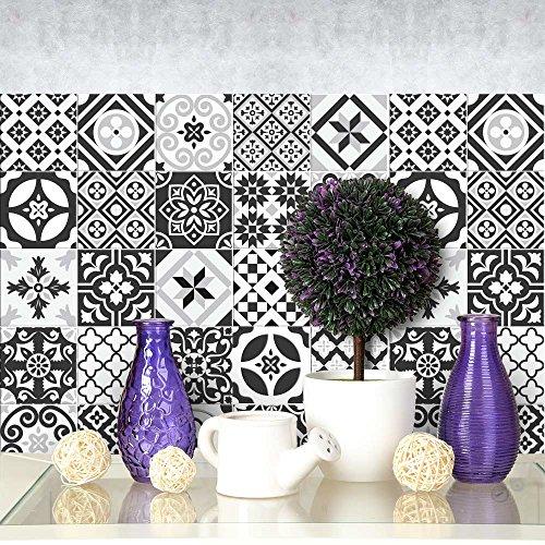 wall art PS00063 Adesivi in PVC per Piastrelle per Bagno e Cucina Stickers Design - Ebony And Ivory