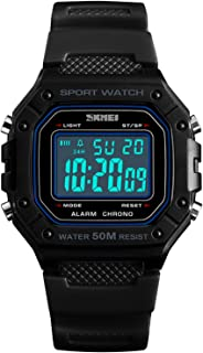 PASOY Mens Digital Watch Multifunction Backlit Stopwatch Rubber Strap ABS Alarm Waterproof Sport Watches