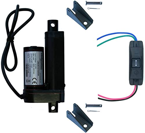 """WindyNation 2 Inch 2"""" Stroke Linear Actuator 12 Volt 12V 225 Pounds lbs + Up Down DPDT Switch + Mounting Brackets (2""""..."""