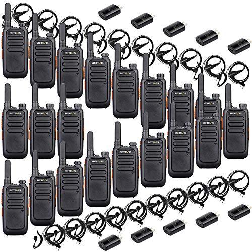 Retevis RT69 Walkie Talkies Rechargeable,Two Way Radios Long Range,Channel Lock Neck Lanyard Flashlight,Portable 2 Way Radio with Earpiece,for School Hotel Restaurant(20 Pack)