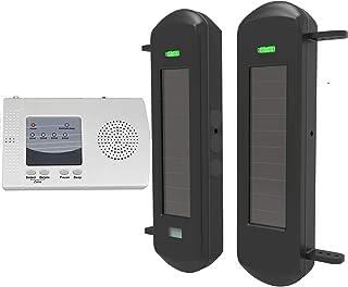 HTZSAFE Solar Wireless Driveway Alarm System-1/2 Mile Long Transmission Range-300 Feet Wide Sensor Range-No Wiring No Need...