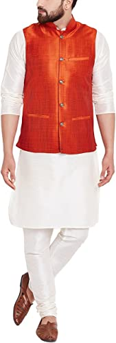 Royal Sojanya Hommes's Dupion Silk Designer Nehru veste grand Dark Orange