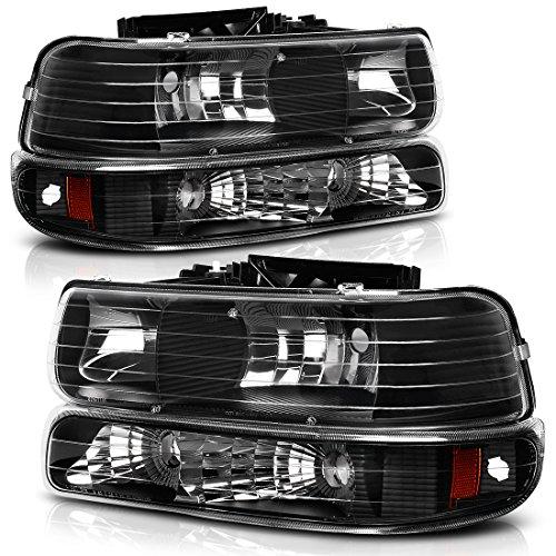 AUTOSAVER88 Headlight Assembly Compatible with 1999-2002 Chevy Silverado 1500 2500/2001-2002 Chevy Silverado 1500HD 2500HD 3500/2000-2006 Tahoe Suburban 1500 2500 Headlamp with Bumper Lights