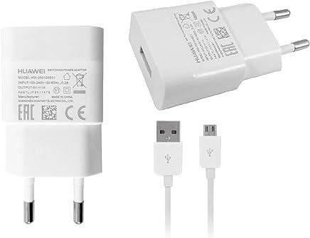 adattatore di ricarica Originale per Huawei HW 050100E01+ Cavo dati Originale per Huawei P8, bianco