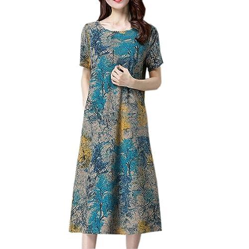 326fc0125f30 Lazzboy Womens Short Sleeve O Neck Pocket Floral Print Loose Baggy Casual  Long Maxi Dress