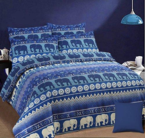 ihidirect doble cama impreso Reversible elefante étnico azul Funda de edredón y funda de almohada juego de cama