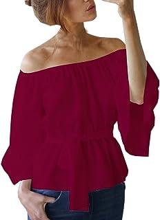 b6f4a618afd1ae Donna Camicie Scollo a Barca Bluse Spalla Nuda Maglie a Manica Lunga T-Shirt  di