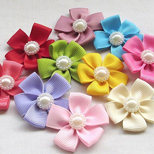 Ruban gros grain en forme de fleur Chenkou Craft avec perles - Nœud à coudre de 40 x 40 mm - Lot de 22 pièces