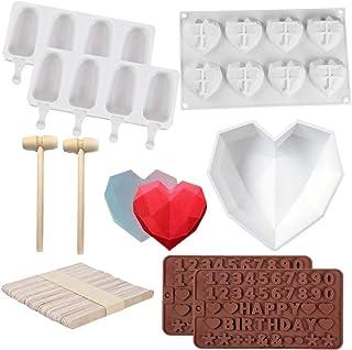 (8 PCS )Diamond Heart Silicone Cake Mold ,Diamond Heart Shaped Mousse Cake Mold,2pcs Wooden Hammers, 2pcs Silicone Popsicl...