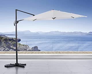 SUNCREAT 10FT Offset Cantilever Umbrella Patio Outdoor Hanging Umbrella with Crank Lift and Cross Base, 360°Rotation, Beige
