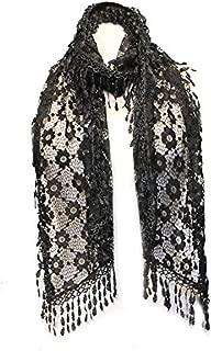 AN Lace Scarf Womens Vintage Flower Dressy Shawl Lightweight Stole Tassel Fringe