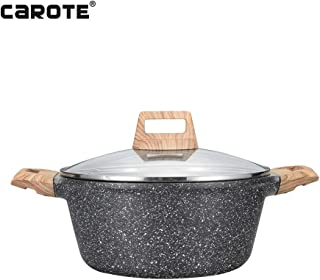 Carote 9.5 inch/4.3 Quart Stone-Derived Non-Stick Granite Coating Casserole with lid