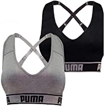 PUMA Women's Seamless Sports Bra Removable Cups - Adjustable Straps Moisture Wicking (2 Pack)