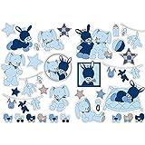 Nattou Stickers Muraux pour Chambre d'Enfant, 2 pièces, Alex et Bibou, Bleu/Beige