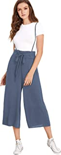 Milumia Women Knot Front Pocket Side Solid Chiffon Pinafore Pants Jumpsuit Overalls