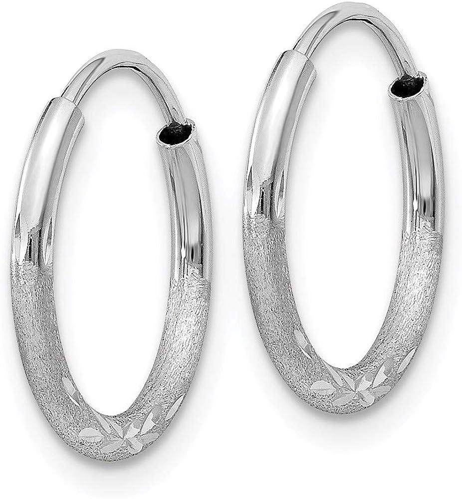14k White Gold 1.5mm Diamond-cut Endless Hoop Earrings 12mm 12mm style XY1198