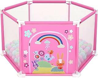 deAO Parque de Juegos Infantil Corralito para Bebé Incluye Bolas de Colores (Hexagonal Rosa)