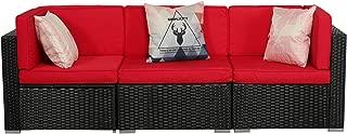 U-Eway Patio PE Rattan Wicker and Steel Frame Set with Cushion,Outdoor/Indoor Garden PE Rattan Sofa Set Conversation Sets(2 x Corner Chair Set ; 1 x Single Sofa) (Red)