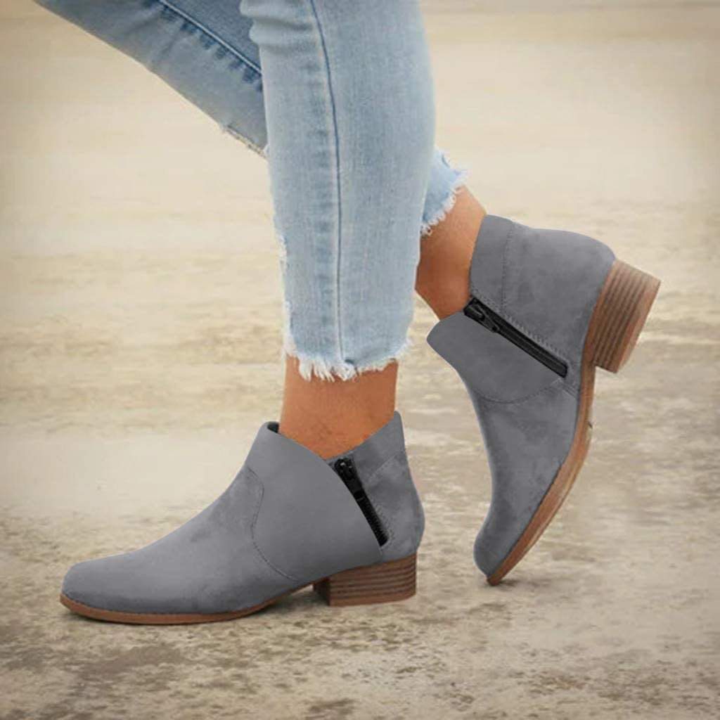 Womens Winter Boots,Claystyle Womens Comfortable Round Toe Zipper Slip On Low Heels Shoes Work Ankle Booties