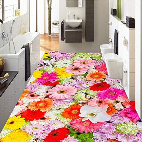 Adhesivo 3D papel tapiz de suelo 3D patrón de flores coloridas pegatina de suelo de baño y decoración del hogar de dormitorio de Pvc autoadhesivo 150x105cm