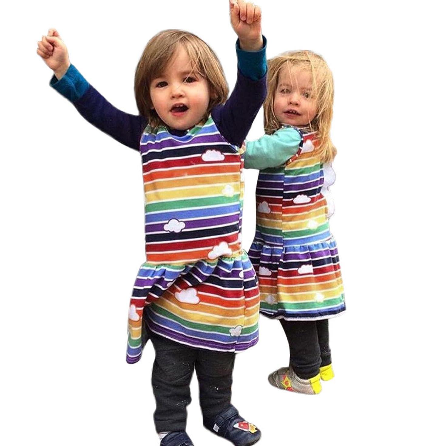 ☆HebeTop Toddler Baby Girls Dress Cartoon Dinosaur Striped Print 3D Dorsal Fin Outfits