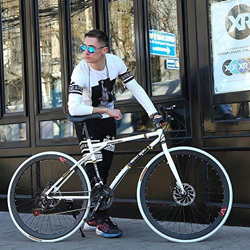 AURALLL Les Vélos de Route de Femmes et d'hommes, 24 Vitesses Vélo de Route Course, Adulte Seule Armature en Acier Haute teneur en Carbone Double Frein à Disque Souple vélo Selle