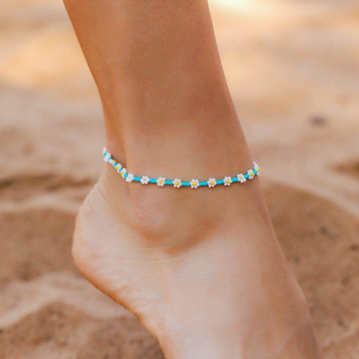 malachite anklet flower anklet green malachite anklet anklet for women beach anklet daisy anklet bohemian anklet gemstone anklet