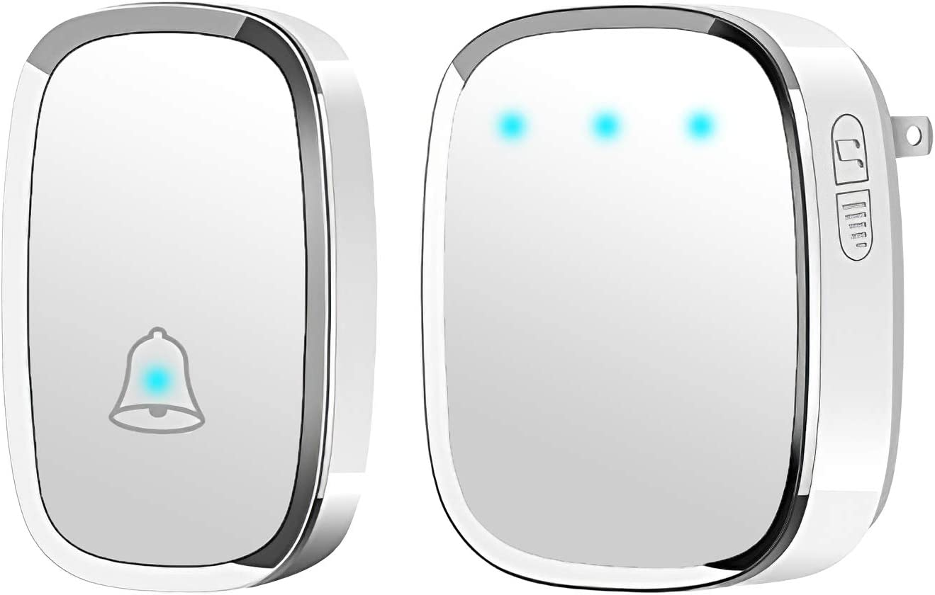 SK Depot ULTRA-LONG WIRELESS RANGE Waterproof Wireless Doorbell Chime Kit with 36 Melodies Chimes Adjustable 4 Volume 1000 feet Operating with Sound Door Bell for Home 1T1, White