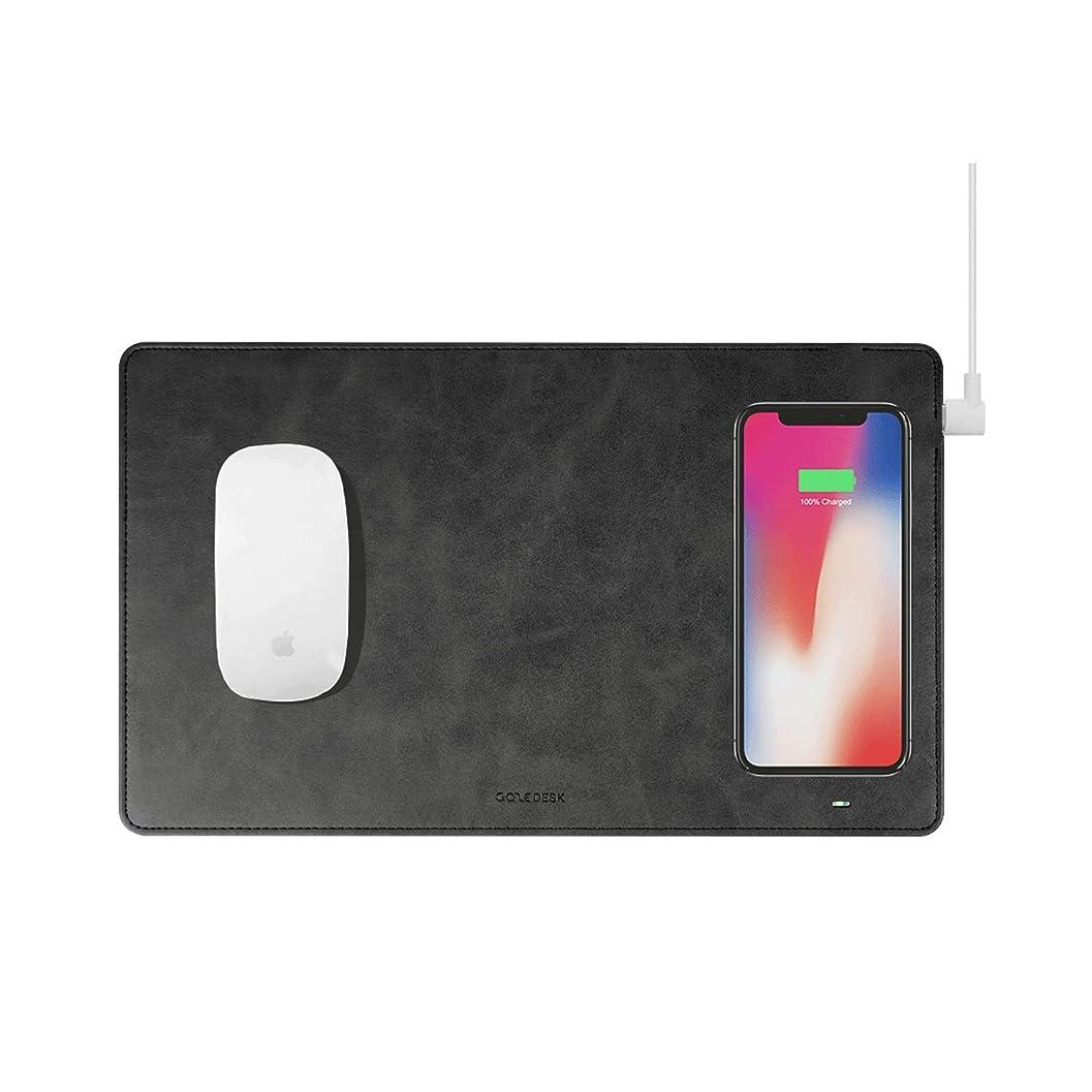 飢饉地域のコストGAZE GAZEPAD MOUSEPAD マウスパッド Qi 無線充電 ワイヤレス充電 iPhone X/XS/XS MAX iPhone 8 (ブラック)