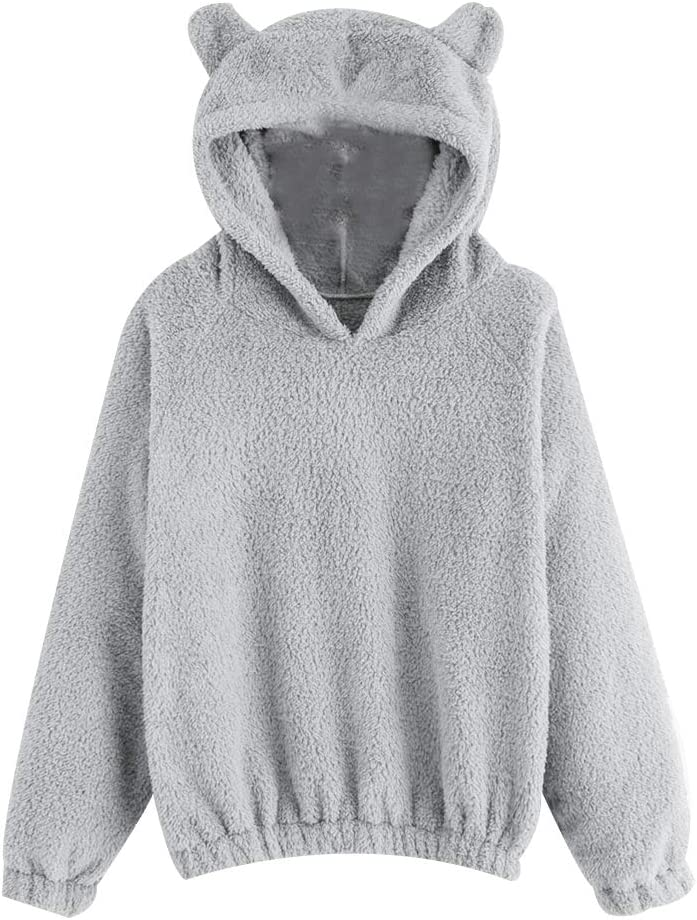 yssgtt Dames Leuke Teddy Oren Lange Mouw Hoodie Sweatshirt