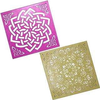 Classic Rangoli Abstract Fleur-de-lis Mandala Stencils for Floor (2 Stencils Set 12