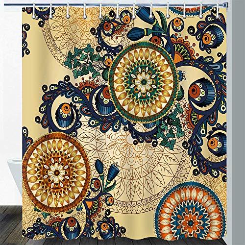 Gdmoon Indian Bohemian Shower Curtain Mandala Design Plant Flower Shower Curtain Paisley Pattern Abstract Striped Circle Fabric Bathroom Curtain Set 72x72In YLWHGD996